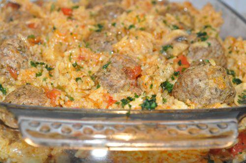 riz a la sauce tomate et viande hachée