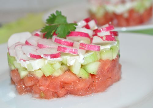 tartare de tomate concombre
