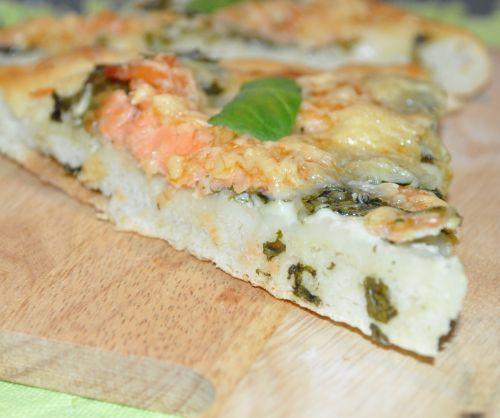 pizza aux épinard et saumon fumé