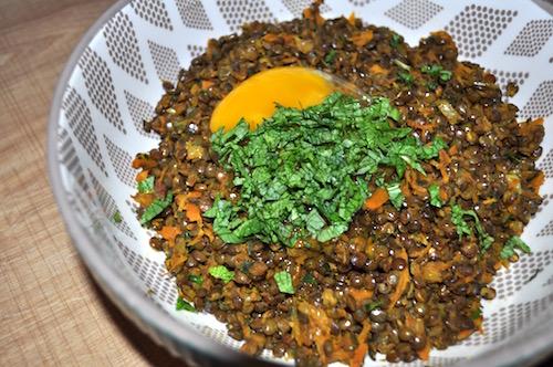 melange galette salee Galettes lentilles carottes