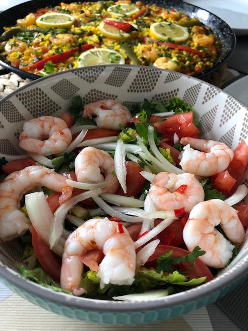 salade de crevette Paëlla aux fruits de mer